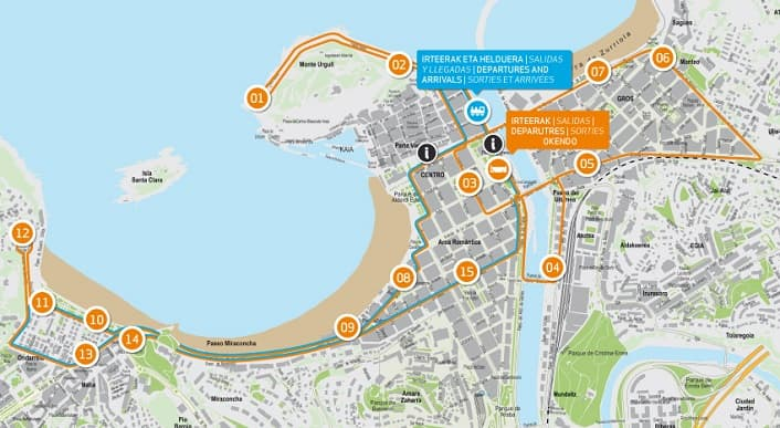 San Sebastián City Tour Map
