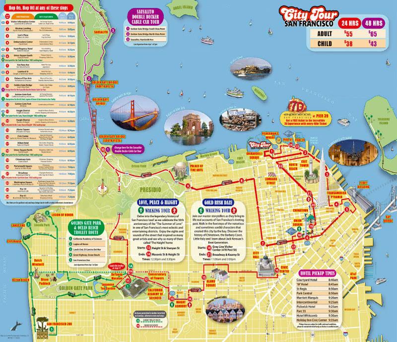 San Francisco Bus Tour Routes San Francisco City Tour