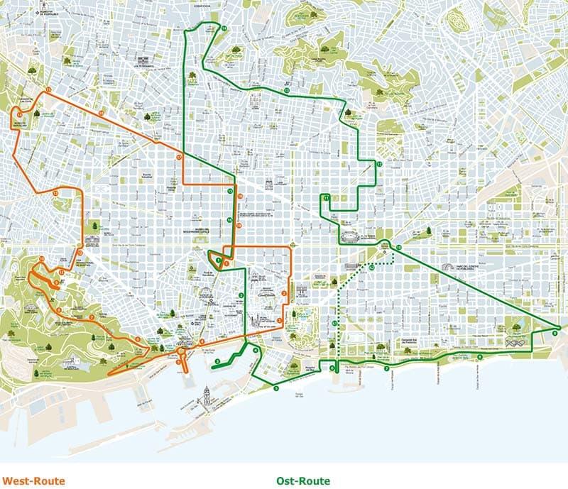 Barcelona Sehenswürdigkeiten Karte.Die Routen Des Offiziellen Touribusses Barcelona City Tour